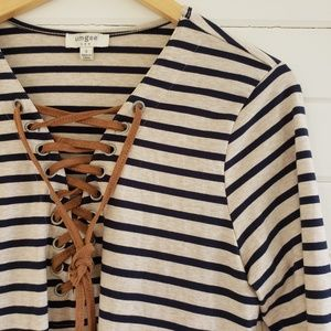 Umgee tan and navy striped tie front dress